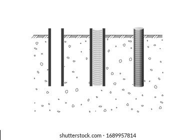 Pipe pile. Construction steps. Vector illustration. The foundation for the building.