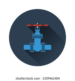 Pipe valve icon. Flat color design. Vector illustration.