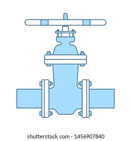 Pipe Valve Icon. Thin Line With Blue Fill Design. Vector Illustration.