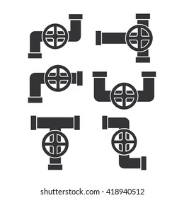 Pipe with valve icon.Water pipe icon set. Water pipe icon web.