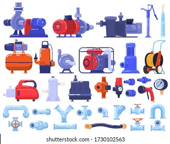 Pipe water pumps machinery, equipment, pipeline technology in industry, complex industrial machine of pipes, cables, motors, gauges and pumps set of isolated vector illustration. Engineering devices.