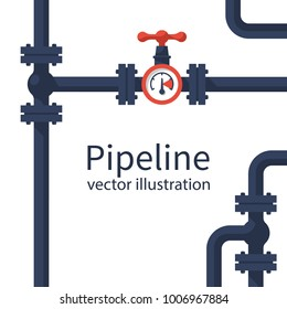 Pipeline background. Pipe system with valves for water of gas oil. Vector illustration flat design. Isolated on white industrial background.
