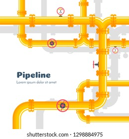 Pipeline background with yellow gas pipes and valves. Vector industrial design.