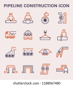 Pipeline construction industry and worker vector icon set design, color and outline.