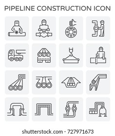 Pipeline construction industry and worker vector icon set design isolated on white background.