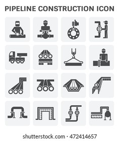 Pipeline construction, maintenance and repair vector icon. By crane, worker, welder and welding work. For transportation or supply crude oil, natural gas, gasoline or petroleum in industrial plant.