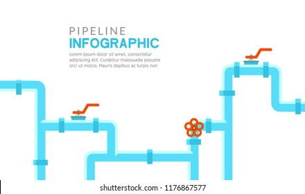 Pipeline infographic. Oil, water or gas flat valve vector design. Pipeline construction isolated.