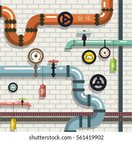 Pipeline. Vector Flat Design Plumbing. Pipes on Brick Wall.