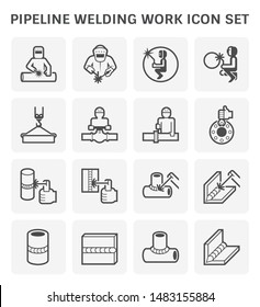 Pipeline welding work and welding tool such as welder, torch, pipe, tunnel, crane and metal vector icon set design, expand line icon.