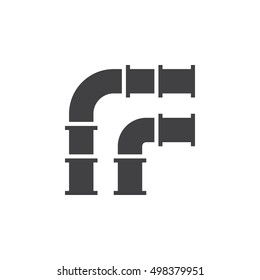 Pipelines icon vector, filled flat sign, solid pictogram isolated on white, logo illustration