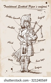 Piper, playing the Great Highland Bagpipes in traditional Scottish piper's uniform. Sketch over grunge textured background. EPS10 vector illustration.