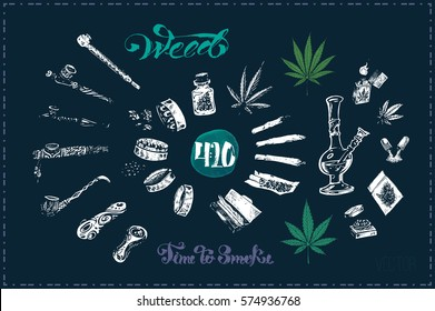 Pipes, bong & joint for marijuana smoking, grinder to cannabis leaves. Calligraphy - time to smoke weed. chalk on blackboard, isolated vector