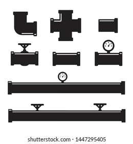 Pipes and fittings, tap. Pipe fittings vector icons set