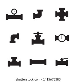 Pipes and fittings, tap. Vector icons. Sewage and Drainage
