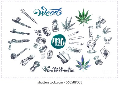 Pipes, joint & bong for smoking marijuana, grinder to cannabis leaves. Calligraphy - weed. isolated vector for packaging design, illustrations for print on t-shirt