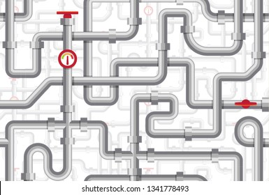 Pipes seamless pattern. Maze of pipelines. Boiler room texture. Plumbing vector illustration. Flat design seamless background.