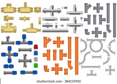 Pipes set. Metal pipe, bronze pipe, chrome pipes with fitting, Quick connection to garden hoses, Plastic sewer pipe. Vector illustration isolated on white background.