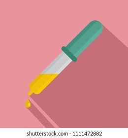 Pipette yellow drop icon. Flat illustration of pipette yellow drop vector icon for web design