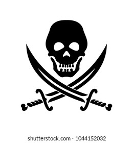 Piracy symbol a skull and two crossed sabers.