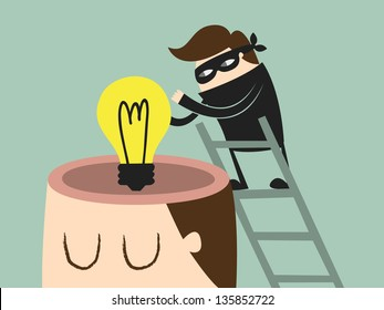 Piracy. thief stealing bulb from a head