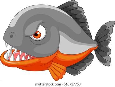 Piranha angry cartoon