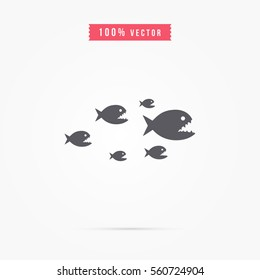 piranha icon. animal sign