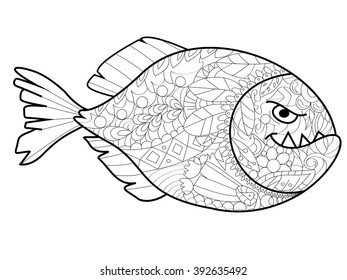Piranha sea animal coloring book for adults vector illustration. Anti-stress coloring for adult. Zentangle style. Black and white lines. Lace pattern