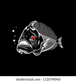 piranha skeleton black art vector