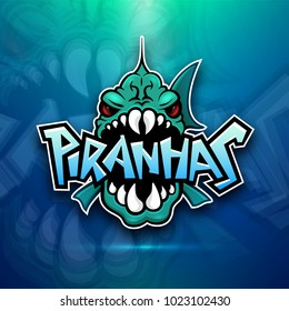 Piranhas emblem logo for sports team, modern badge mascot design isolated on atmospheric background