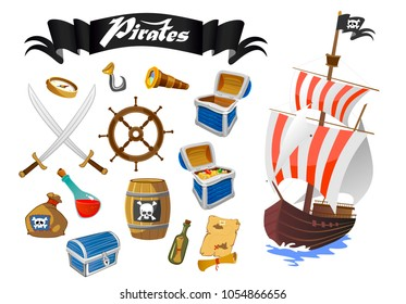 Pirate accessories flat icons with wooden treasure chest with treasures sabers steering wheel rum barrel of gunpowder vector