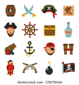 Pirate accessories symbols flat icons collection with wooden treasure chest and jolly roger flag abstract vector illustration