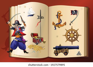 Pirate adventure. Pirates and weapons collection