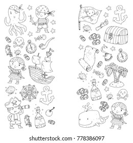 Pirate adventures Pirate party Kindergarten pirate party for children Adventure, treasure, pirates, octopus, whale, ship Kids drawing vector pattern for banners, coloring pages, book