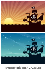 Pirate Backgrounds: Two cartoon backgrounds with pirate ships. Each is in A4 proportions, but you can extend the black area downwards. No transparency used. Basic (linear) gradients.