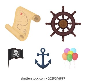 Pirate, bandit, rudder, flag .Pirates set collection icons in cartoon style vector symbol stock illustration web.