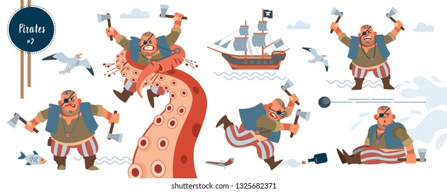 Pirate. Bandit. Series set Pirates and robbers. Short, strong Pirate character cartoon flat isolated vector illustration.