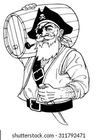 Pirate with barrel and knife. Isolated. Vector illustration