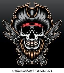 Pirate bearded skull. Premium vector