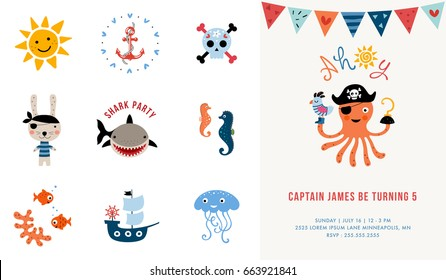 Pirate Birthday Invitation. Vector illustration.