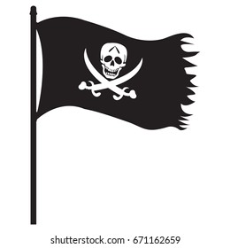 Pirate black flag icon