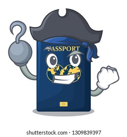 Pirate blue passport in the cartoon form