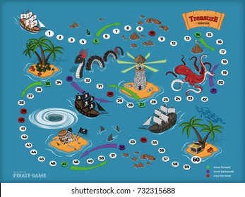 Pirate board game for children. Map of the treasure hunter. Corsair ship and sea monsters in isometric style. Chest of gold on tropical island. Vector illustration