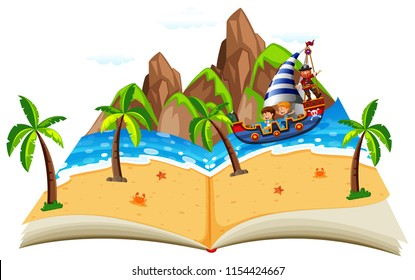 Pirate boat with children pop up book illustration