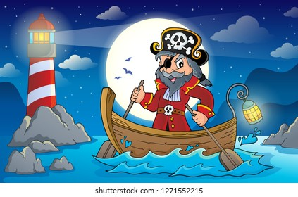Pirate in boat topic image 2 - eps10 vector illustration.