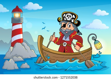 Pirate in boat topic image 4 - eps10 vector illustration.