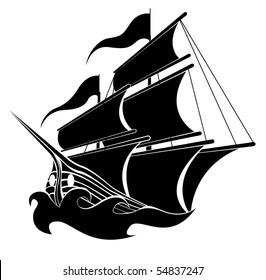 Pirate boat vector