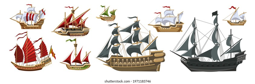 Pirate boats and Old different Wooden Ships with Fluttering Flags Vector Set Old shipping sails traditional vessel pirate symbols garish vector illustrations collection set
