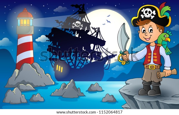 Pirate boy topic image - eps10 vector illustration.