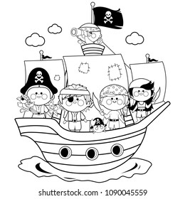 Pirate boys and girls sailing on a ship at the sea. Black and white coloring book page