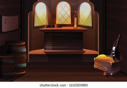 Pirate capitan ship cabin. Vector cartoon illustration of wooden room interior with bottle and spyglass on desk, map on wall, treasure chest and black flag with skull and crossbones